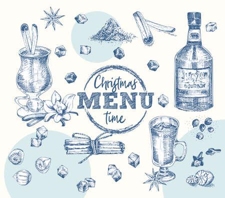 Set bottles Bourbon, glasses, eggnog christmas spice Vintage hand drawn sketch design bar, restaurant, cafe menu Realistic engraving style Template for flyer, banner, poster Graphic vector art