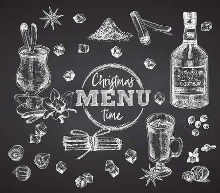 Set bottles Bourbon, glasses, eggnog christmas spice on black chalk board background Vintage hand drawn sketch design bar, restaurant, cafe menu, flyer, banner, poster engraving style Vector art Illustration