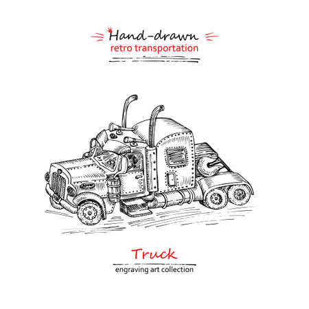 Hand drawn truck isolated on white background. Vintage sketch lorry transport. Large Industrial car, giant machine. Engravng art style Vector illustration