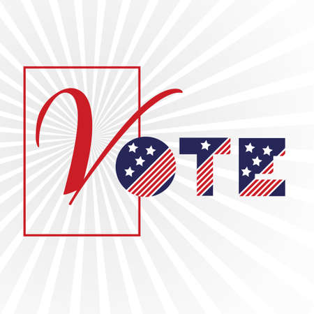 American presidential election day, political campaign for flyer, post, print, stiker template design Patriotic motivational message quotes. Vote now Vector illustration. 向量圖像