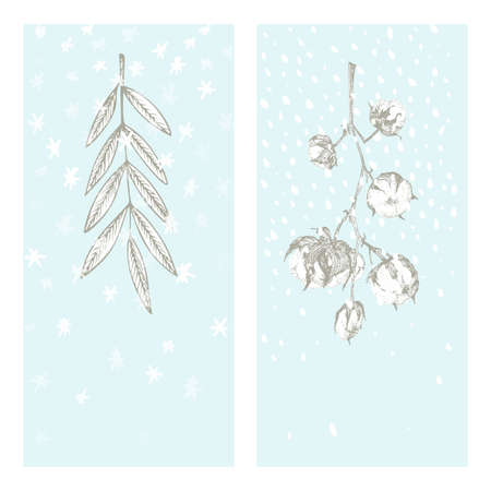 Set christmas new year card with cotton branch and rowan leaves Winter plants isolated on blue snow background. Hand-drawn vintage sketch botanical art. Engraving style. Flat color Vector illustration