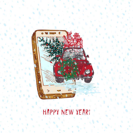 Festive Christmas, New year concept holiday delivery. Hand drawn smartphone and red car with fir tree decorated red balls and gifts on snowy background Text Happy new year Vector illustrations Ilustración de vector
