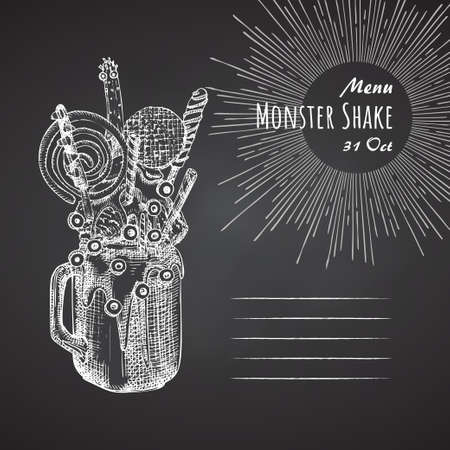 Monster shake dessert menu, chalkboard background. Hand drawn black and white sketch style Chocolate, donut, ice cream, candy, cookies, marshmallow Design for restaurant, cafe, bar Stock Illustratie