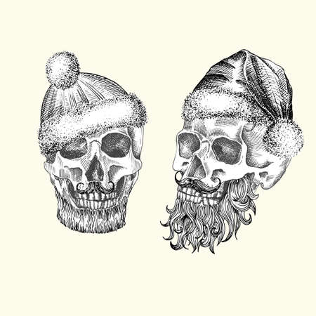 Set Hand drawn sketch human skull with santa hat and fur scarf. Black graphic art isolated on white background. Full face view of head. Engraving art. Alternative Christmas and New Year vintage style