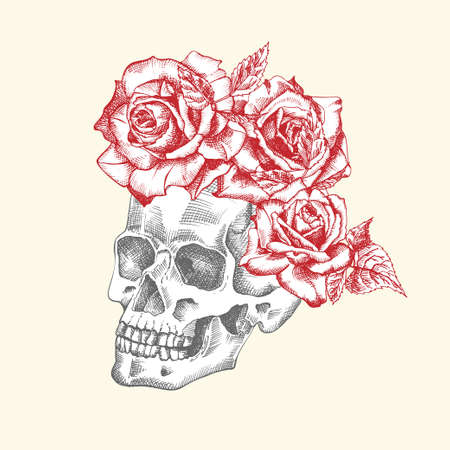 Hand drawn sketch human skull with wreath of flowers. Red roses Funny character Black graphic Engraving art isolated on white background. Vintage style. Vector