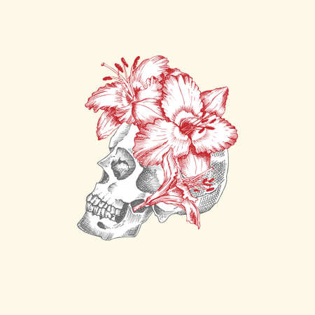 Hand drawn sketch human skull with wreath of flowers. Red lilies Funny character Black graphic Engraving art isolated on white background. Vintage style. Vector