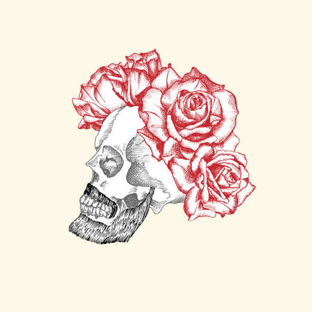 Hand drawn sketch human skull with beard and mustache in wreath of flowers. Red roses Funny character Black graphic Engraving art isolated on white background. Vintage style. Vector