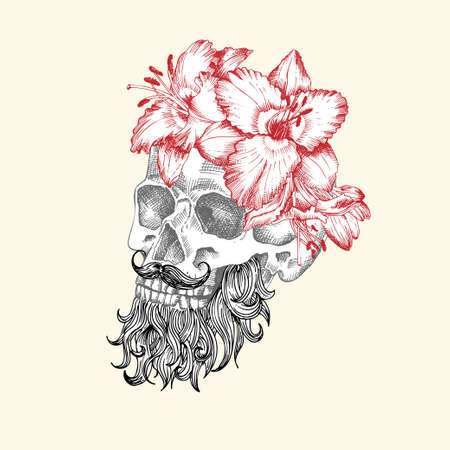 Hand drawn sketch human skull with beard and mustache in wreath of flowers. Red lilies Funny character Black graphic Engraving art isolated on white background. Vintage style. Vector