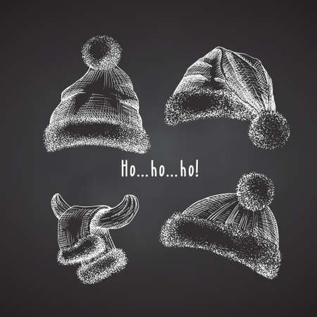 Set Hand drawn sketch santa hat and fur scarf. Chalk graphic Engraving art isolated on chalkboard background. Christmas and New Year vintage style design . Vector