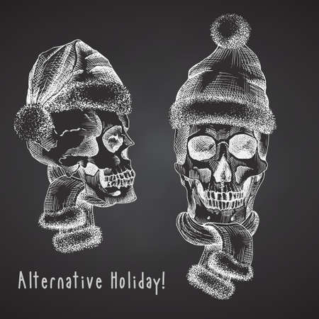 Set Hand drawn sketch human skull with santa hat and fur scarf. Chalk graphic Engraving art isolated on chalkboard background. Alternative Christmas and New Year vintage style. Vector