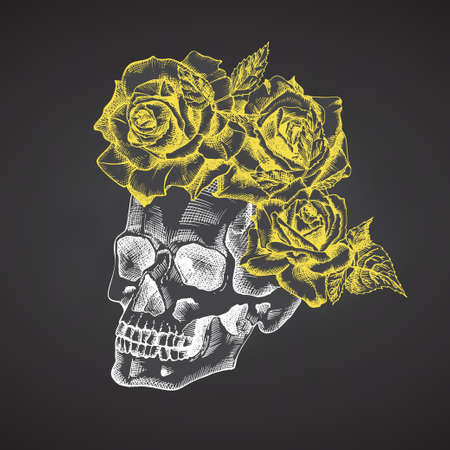 Hand drawn sketch human skull with wreath of flowers. Yellow roses Funny character Chalk graphic Engraving art isolated on chalkboard background. Vintage style. Vector