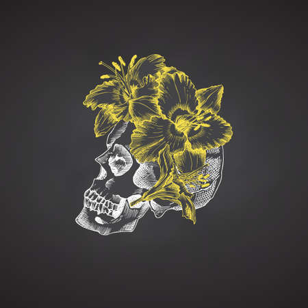 Hand drawn sketch human skull in wreath of flowers. Yellow lilies Funny character Chalk graphic Engraving art isolated on chalkboard background. Vintage style. Vector Ilustração