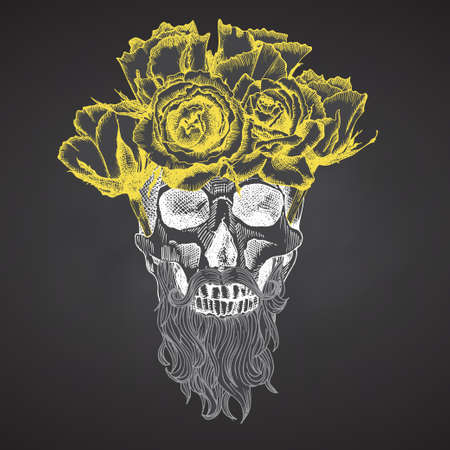 Hand drawn sketch human skull with beard and mustache in wreath of flowers. Yellow roses Funny character Chalk graphic Engraving art isolated on chalkboard background. Vintage style. Vector
