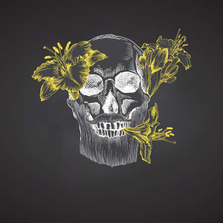Hand drawn sketch human skull with beard and mustache in wreath of flowers. Yellow lilies Funny character Chalk graphic Engraving art isolated on chalkboard background. Vintage style. Vector