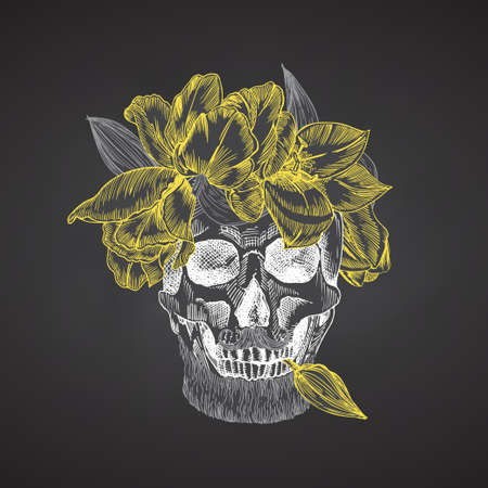 Hand drawn sketch human skull with beard and mustache in wreath of flowers. Yellow tulips Funny character Chalk graphic Engraving art isolated on chalkboard background. Vintage style. Vector