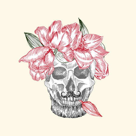 Hand drawn sketch human skull with beard and mustache in wreath of flowers. Red tulip Funny character Black graphic Engraving art isolated on white background. Vintage style. Vector