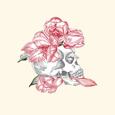 Hand drawn sketch human skull in wreath of flowers. Red tulip Funny character Black graphic Engraving art isolated on white background. Vintage style. Vector Ilustração
