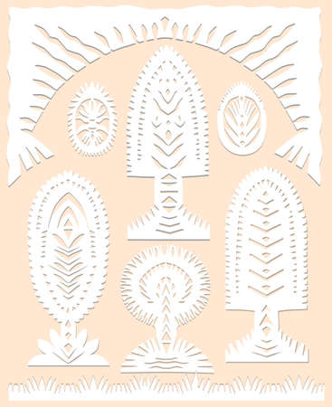 Set of paper cut spring, summer symbols decorative trees in white color isolated on beige background Traditional Belarusian, Polish paper clippings make with scissors. Hand made. Vector