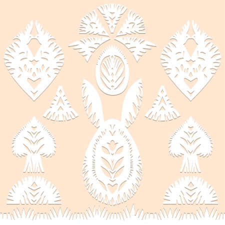 Set of paper cut festive symbols Holiday spring Easter signs egg, rabbit, heart, tree in pink, yellow, gray, blue colors. Traditional Belarusian, Polish paper clippings. Hand made. Vector