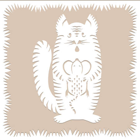 Striped cat with mouse Paper cut decorative silhouette animal in white color isolated on beige background Traditional Belarusian, Polish paper clippings make with scissors. Hand made. Vector