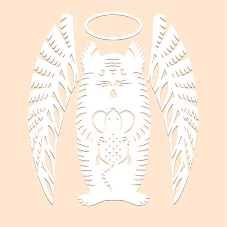 Cat angel with mouse Paper cut decorative silhouette animal in white color isolated on beige background Traditional Belarusian, Polish paper clippings make with scissors. Hand made. Vector Ilustração