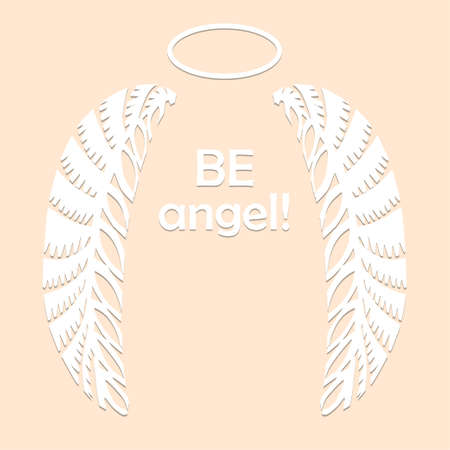 Angel wings and halo in white color isolated on beige background Paper cut decorative silhouette Traditional Belarusian, Polish paper clippings make with scissors. Hand made Vector