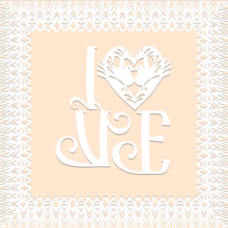 Love symbol, valentine card, decorative heart with birds and lace frame in white color isolated background Paper cut Traditional Belarusian, Polish paper clippings make with scissors. Hand made