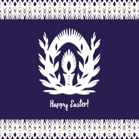 Egg whith candle Paper cut festive symbols Holiday spring Easter signs in white colors isolated on blue background and lace frame. Traditional Belarusian, Polish paper clippings. Hand made. Vector