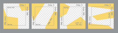 Set of minimal square posts. Trasparent yellow geometric shapes and gray text template. Place for your photo. Every day design concept for year Best for social media post and web internet ads Ilustração