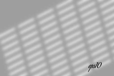 Realistic window shadow. Multiply Overlay effect. Long shadow light on wall or floor. Mesh gradient scenes of natural lighting. Jalousie perforation. Natural background for design. Illustration Ilustração