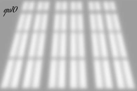 Realistic old window shadow. Multiply Overlay effect. Long shadow light on wall or floor. Mesh gradient scenes of natural lighting. Oval perforation. Natural background for design. Illustration