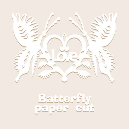 Vintage Butterfly paper cut style art icon in black color, isolated background. Scissored pattern. Retro collection for decorative design, paper cut machine, scrapbooking, sticker Vector