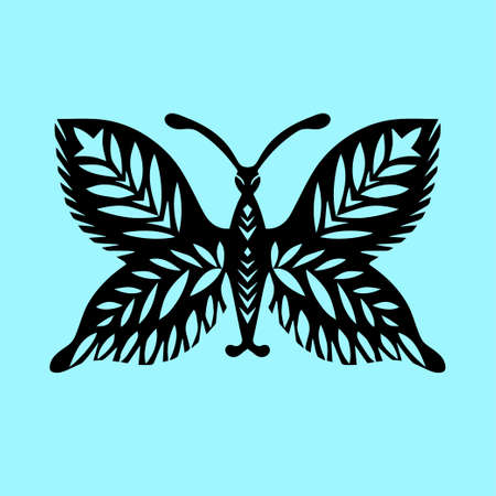 Vintage Butterfly paper cut style art icon in black color, isolated background. Scissored pattern. Retro collection for decorative design, paper cut machine, scrapbooking, sticker Vector Imagens - 166561467
