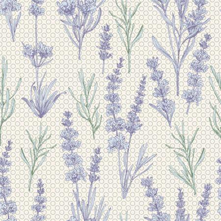 Seamless pattern with hand-drawn sketch of cute Lavender flower bouquets. France Provence retro style for romantic design concept, rustic digital paper. Natural lavander Vintage vector Ilustração