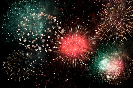 public celebratory event: Great colorful fireworks display at night