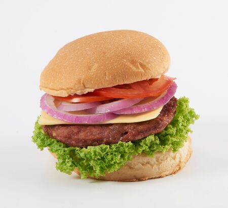 A burger on white background