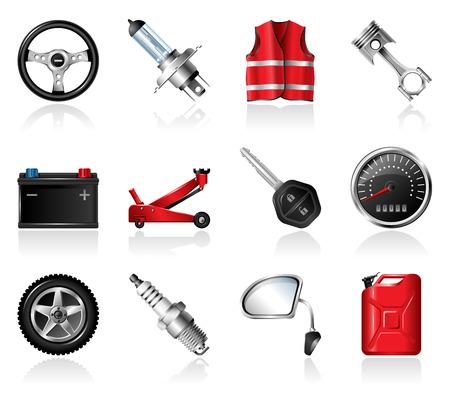 onderhoud auto: Auto-onderhoud pictogrammen Stock Illustratie