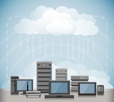 クラウドコンピューティングの概念  イラスト・ベクター素材