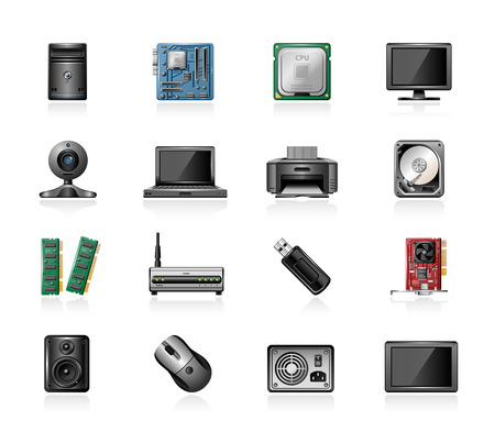 Computer part icons Illustration