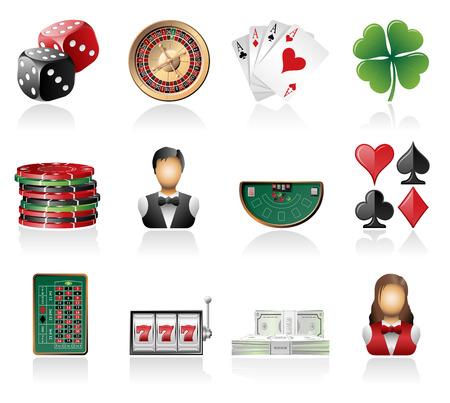 Iconos de juegos de azar Vectores