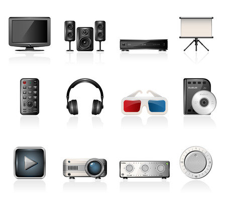 Home cinema icons Vector