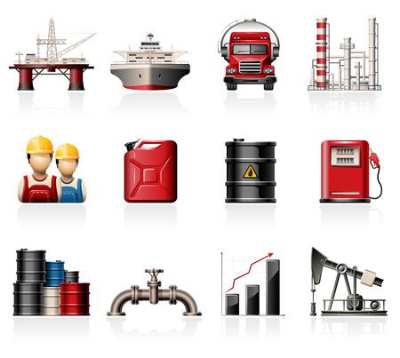 oil worker: Iconos de la industria del petr�leo Vectores