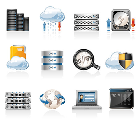 Web hosting icons 矢量图像