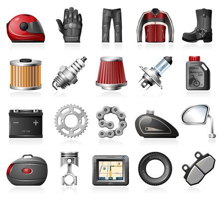 Motorfiets onderdelen en accessoires pictogrammen Stock Illustratie