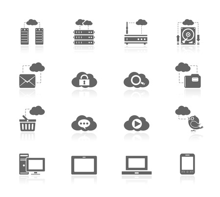 icono computadora: Black Icons - Cloud Computing Vectores