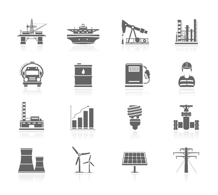 solar panel: Black Icons - Industry And Energy Illustration