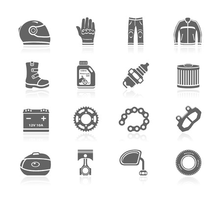 Black Icons - Motorcycle Gear & Accessoires Stock Illustratie