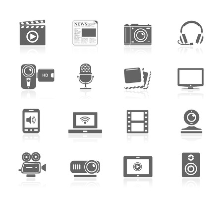 multimedia icons: Black Icons - Multimedia Illustration