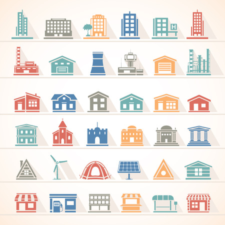 architecture and buildings: Flat Icons - Buildings