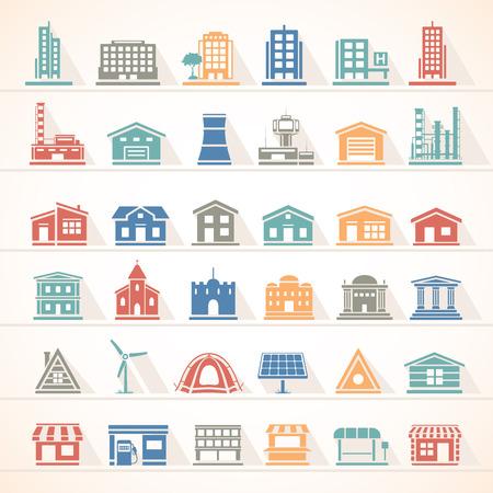 edificios: Iconos planos - Edificios